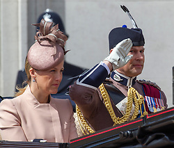 LONDON - UK - 15 JUNE 2013: Sophie, Countess of Wessex with Prince Edward.<br /> Members of the British Royal Family join HM Queen Elizabeth for the annual Trooping The Colour Ceremony to mark the Queen's Official Birthday. The Queen and members of the family travelled by carriage to Horseguards for the ceremonial parade before joining her on the balcony of Buckingham Palace.<br /> The Duke of Edinburgh who normally accompanies the Queen was absent as he is still in hospital recovering from an operation.<br /> Photograph by Ian Jones.