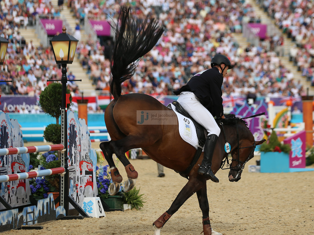 Dmytro Kirpulyanskyy of Ukraine rides during men's modern pentathlon during day 15 of the London Olympic Games in London, England, United Kingdom on August 11, 2012..(Jed Jacobsohn/for The New York Times)..