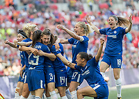 Football - SSE Women's FA Cup Final - Arsenal Women vs. Chelsea Ladies<br /> <br /> Chelsea Ladies players congratulate Ramona Bachmann (Chelsea Ladies FC) after she scores the opening goal at Wembley Stadium.<br /> <br /> COLORSPORT/DANIEL BEARHAM
