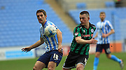 Sam Ricketts, Donal McDermott during the Sky Bet League 1 match between Coventry City and Rochdale at the Ricoh Arena, Coventry, England on 5 March 2016. Photo by Daniel Youngs.