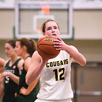 4th year forward Christina McCusker (12) of the Regina Cougars during the Women's Basketball pre-season game on October 14 at Centre for Kinesiology, Health and Sport. Credit: Arthur Ward/Arthur Images