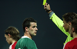 Mirnes Sisic (8) of Slovenia got his first yellow card during the UEFA Friendly match between national teams of Slovenia and Denmark at the Stadium on February 6, 2008 in Nova Gorica, Slovenia. This was the first time he played for Slovenia national team. Slovenia lost 2:1. (Photo by Vid Ponikvar / Sportal Images).