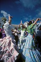 Women dancing flamenco at a fiesta in Andalucia- Romeria d'El Rocio