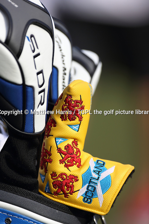 Stephen GALLAGHER (SCO)  head cover for his putter with Scottish flag on it during second round  Omega Dubai Desert Classic 2014, Emirates Club,Dubai,UAE.
