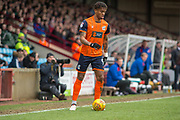 Scunthorpe United striker Ivan Tony (9) during the EFL Sky Bet League 1 match between Scunthorpe United and Rotherham United at Glanford Park, Scunthorpe, England on 10 February 2018. Picture by Craig Zadoroznyj.