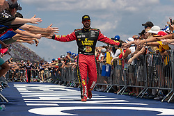 August 12, 2018 - Brooklyn, MI, U.S. - BROOKLYN, MI - AUGUST 12: Monster Energy NASCAR Cup Series driver Martin Truex Jr. (78) greets fans during driver introductions before the Monster Energy NASCAR Cup Series Consumers Energy 400 at Michigan International Speedway on August 12, 2018 in Brooklyn, Michigan.(Photo by Adam Lacy/Icon Sportswire) (Credit Image: © Adam Lacy/Icon SMI via ZUMA Press)