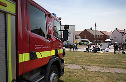 © Licensed to London News Pictures. 06/07/2018. Amesbury, UK. The fire brigade arrive outside a property in Amesbury after a couple, named locally as Dawn Sturgess, 44, and her partner Charlie Rowley, 45, were taken ill on Saturday 30th June 2018. Police have confirmed that the couple have been in contact with Novichok nerve agent. Former Russian spy Sergei Skripal and his daughter Yulia were poisoned with Novichok nerve agent in nearby Salisbury in March 2018. Photo credit: Peter Macdiarmid/LNP