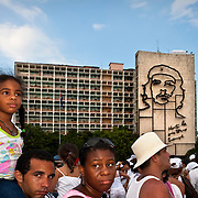 CUBA (La Habana). 2009. Attendants in Revolution's square during 'Peace without Borders' concert in La Habana. Little changes are taken by cubans with both, scepticism and hope.