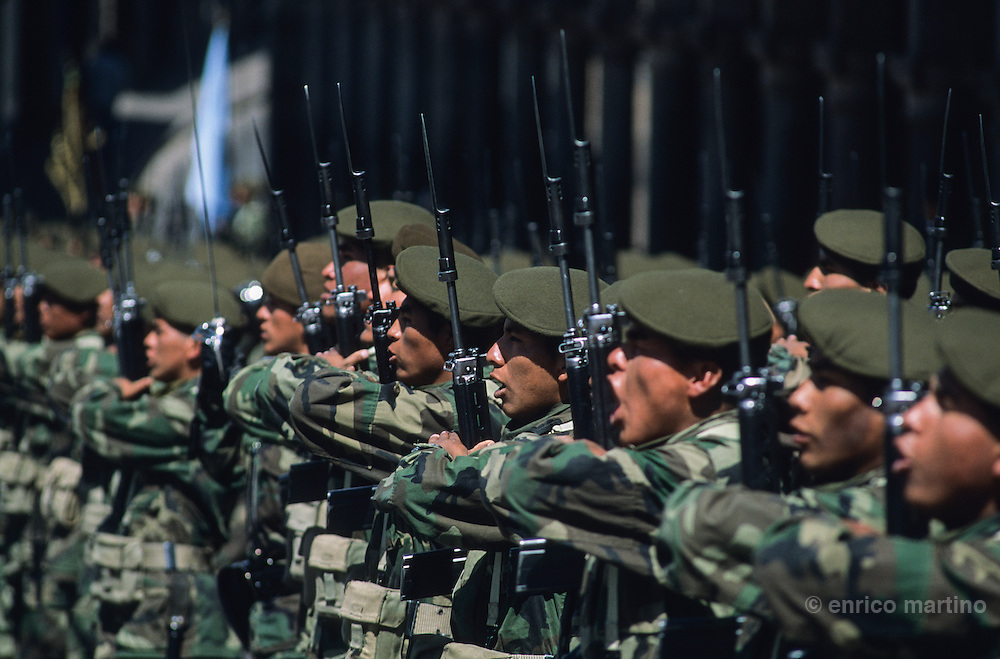 Army's ceremony celebrating National Holiday in Plaza de Armas (main square).