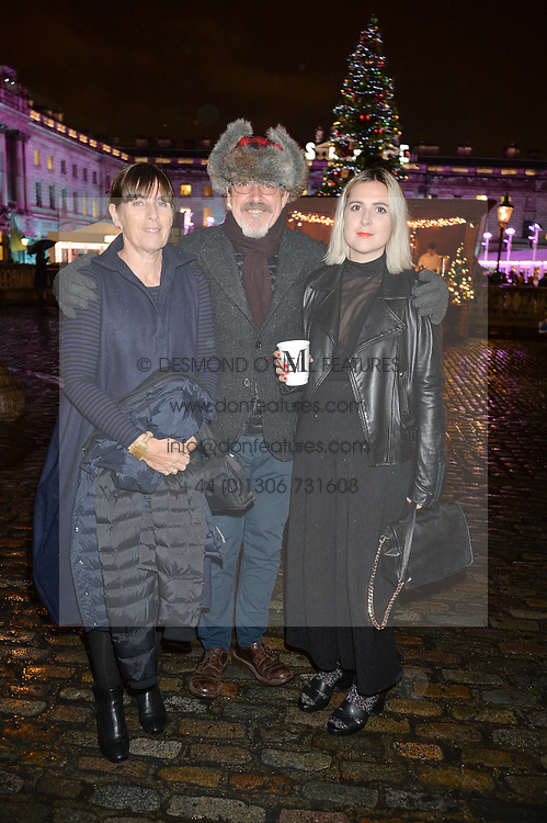 GRIFF RHYS JONES, his wife JO and daughter CATHERINE at Skate At Somerset House with Fortnum & Mason on 16th November 2016.