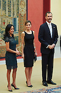 King Felipe VI of Spain and Queen Letizia of Spain attends a reception with Peruvian President Ollanta Humala Tasso and wife Nadine Heredia Alarcon at Palacio de El Pardo on July 8, 2015 in Madrid