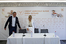 27.07.2014, Roy Emerson Arena, Gstaad, SUI, ATP Tour, Credit Agricole Suisse Open Gstaad, im Bild Turnierdirektor Jeff Collet links und Praesidentin Suisse Open Gstaad AG Ruth Wipfli-Steinegger an der Medienkonferenz. // during the Credit Agricole Suisse Open of ATP World Tour at the Roy Emerson Arena in Gstaad, Switzerland on 2014/07/27. EXPA Pictures &copy; 2014, PhotoCredit: EXPA/ Freshfocus/ Christian Pfander<br /> <br /> *****ATTENTION - for AUT, SLO, CRO, SRB, BIH, MAZ only*****