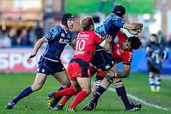 Cardiff Lock (#5) Lou Reed is driven into touch during the first half of the match - Photo mandatory by-line: Rogan Thomson/JMP - Tel: Mobile: 07966 386802 21/10/2012 - SPORT - RUGBY - Cardiff Arms Park - Cardiff. Cardiff Blues v Toulon (RC Toulonnais) - Heineken Cup Round 2