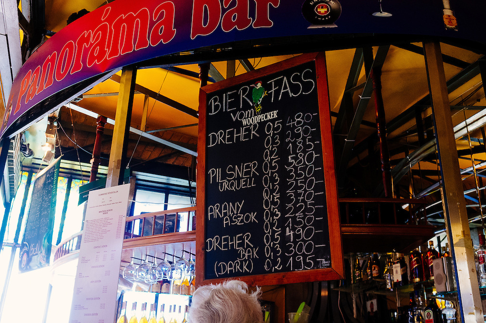 Available beers at a bar in the Great Market Hall