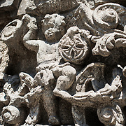 Ornate carved stone on the exterior of Iglesia de la Santisima Trinidad in Mexico City, Mexico. Iglesia de la Santisima Trinidad translates as Church of the Holy Trinity.