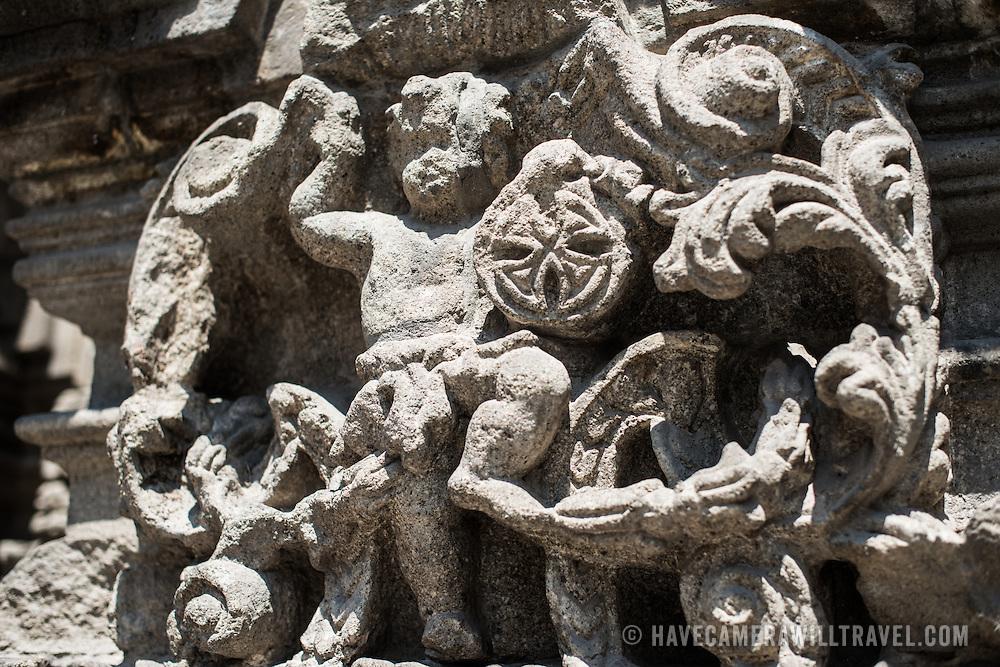 Ornate carved stone on the exterior of Iglesia de la Santisima Trinidad in Mexico City, Mexico. Iglesia de la Santisima Trinidad translates as Church of the Holy Trinity.