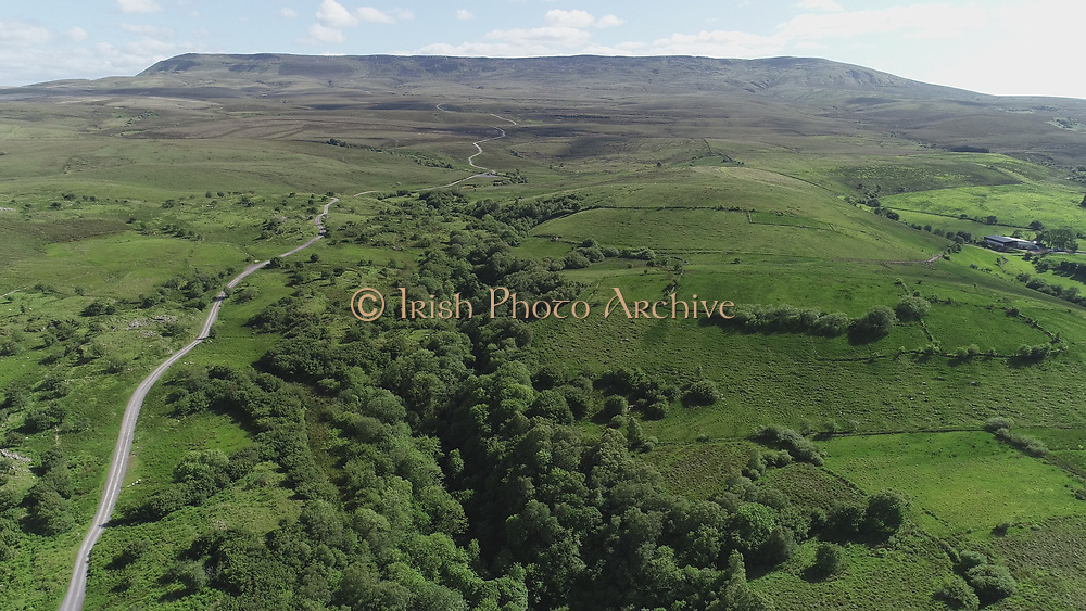 aerial view of fermanagh ireland june 2018, near marble arch, cailcagh mountan board walk, view of Lough Macnewan lower from marlbank road, unesco world geo park. aerial photos