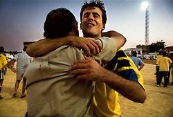 Sevilla, Andalucia, Spain<br /> Players are celebrating their triumph in the small village of Viso del Alcor in Sevilla<br /> &copy;Carmen Secanella.