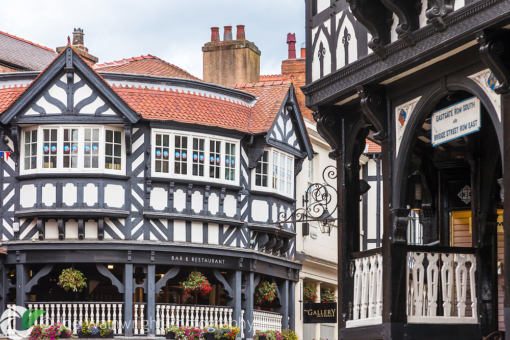 Detail of the iconic black and white half-timbered buildings at The Cross, Chester, Cheshire