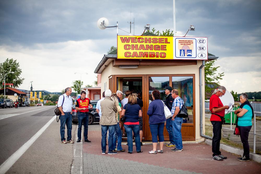 Wechselstube an der ehemaligen Grenzstation in Dolni Dvoriste - von 1955 bis 1989 lag der Ort am Eisernen Vorhang.