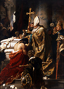 The Baptism of Vajk', 1875. Oil on canvas.  Gyula Benczur (1844-1920) Hungarian painter. Saint Stephen (c975-1038) first King of Hungary (1001-1038). Baptised with his father in 985, changing his name from Vajk to Stephan.