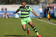 Forest Green Rovers Dan Wishart(17) runs forward during the Vanarama National League match between Guiseley  and Forest Green Rovers at Nethermoor Park, Guiseley, United Kingdom on 8 April 2017. Photo by Shane Healey.
