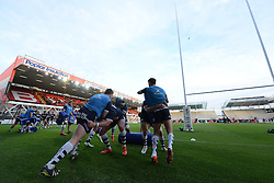 A general view of the South Stand development as Bristol Rugby warm up - Photo mandatory by-line: Dougie Allward/JMP - Mobile: 07966 386802 - 17/04/2015 - SPORT - Rugby - Bristol - Ashton Gate - Bristol Rugby v Jersey - Greene King IPA Championship