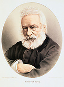 Victor Marie Hugo (1802-1885)  French poet, dramatist and novelist. Tinted lithograph published London c1880.