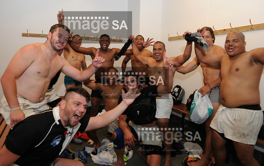 CAPE TOWN, SOUTH AFRICA - Saturday 16 March 2013, GAP Dispatch celebrate in the dressing room during match 33 of the Cell C Community Cup rugby match between SK Walmers and GAP Dispatch held at the Green Point track, Cape Town. .Photo by ImageSA