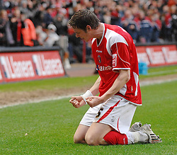 LONDON, ENGLAND - Friday, March 21, 2008: Charlton Athletic's Greg Halford celebrates scores the opening goal against West Bromwich Albion during the League Championship match at the Valley. (Photo by Chris Ratcliffe/Propaganda)
