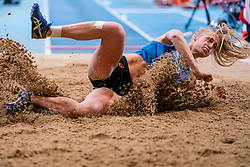 Anouk Vetter in action on the long jump section<br /> during the Dutch Indoor Athletics Championship on February 22, 2020 in Omnisport De Voorwaarts, Apeldoorn