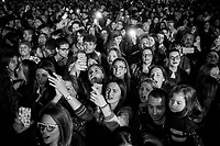 NAPLES, ITALY - 1 MAY 2016: Fans attend the concert of Neapolitan songwriter Franco Ricciardo & Paranza supporting mayor Luigi De Magistris, running for re-election in the 2016 city elections, on Labor Day in the historical center of Naples, Italy, on May 1st 2016