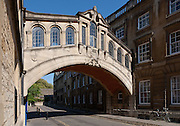 Bridge of Sighs, or Hertford Bridge in Oxford a pedestrian bridge linking together the Old and New Quadrangles of Hertford College. Built 1913. Architect: Sir Thomas Jackson
