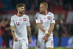 March 21, 2019 - Vienna, Austria - Mateusz Klich and Kamil Glik of Poland celebrate during the UEFA European Qualifiers 2020 match between Austria and Poland at Ernst Happel Stadium in Vienna, Austria on March 21, 2019  (Credit Image: © Andrew Surma/NurPhoto via ZUMA Press)