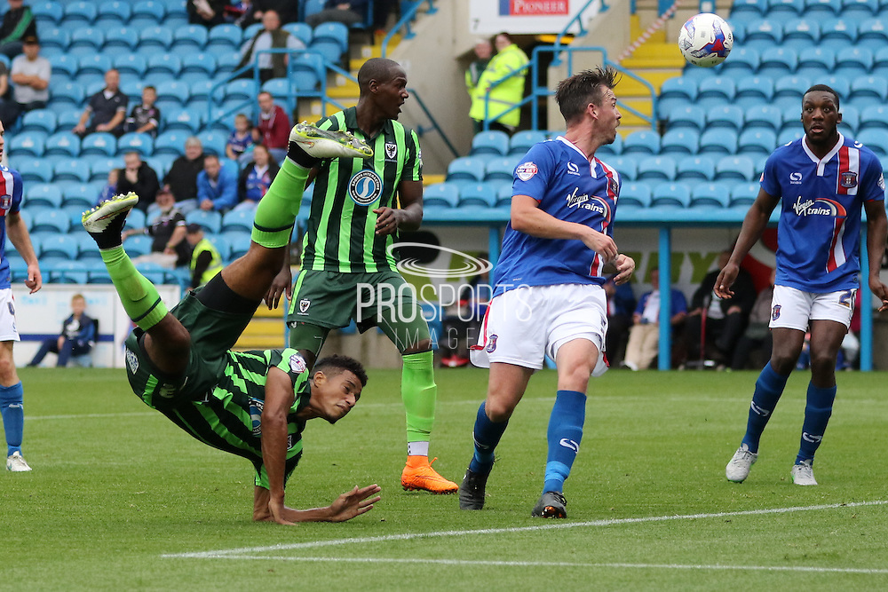 Lyle Taylor of AFC Wimbledon during the Sky Bet League 2 match between Carlisle United and AFC Wimbledon at Brunton Park, Carlisle, England on 22 August 2015. Photo by Stuart Butcher.