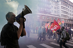October 9, 2018 - Strasbourg, France - A man seen speaks on a megaphone during a protest. People demonstrate during a one-day nationwide strike over French President Emmanuel Macron's policies. (Credit Image: © Elyxandro Cegarra/SOPA Images via ZUMA Wire)