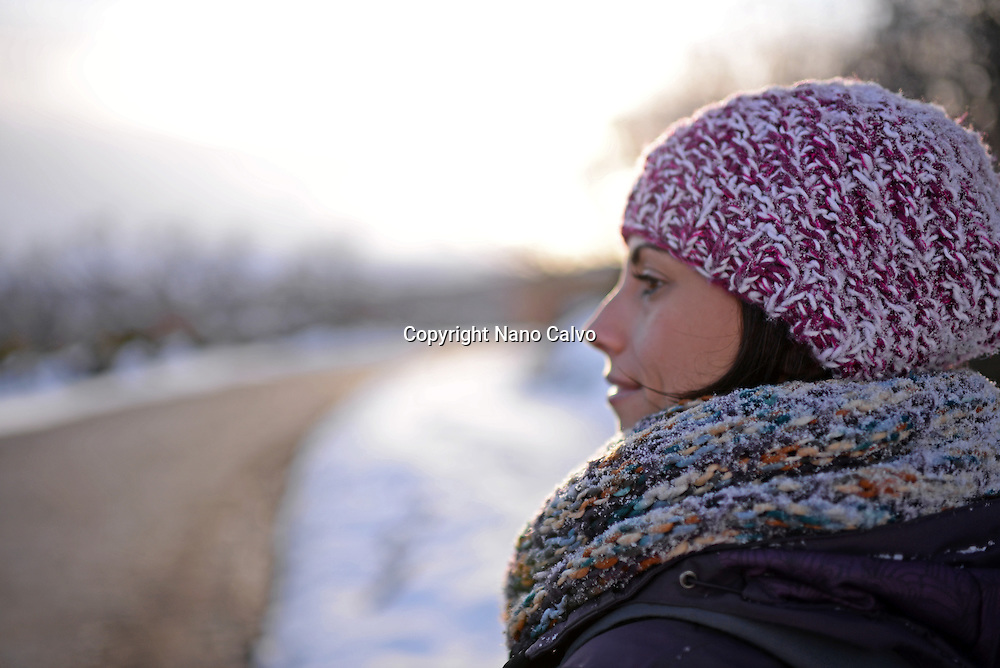 Attractive young woman in winter environment