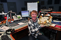 Hector's day on RTE 2FM ..........Hector O hEochagain celebrates his  First Breakfast show live in Galway from the RTE studio with a cake from the Radisson Blu hotel. Photo:Andrew Downes.