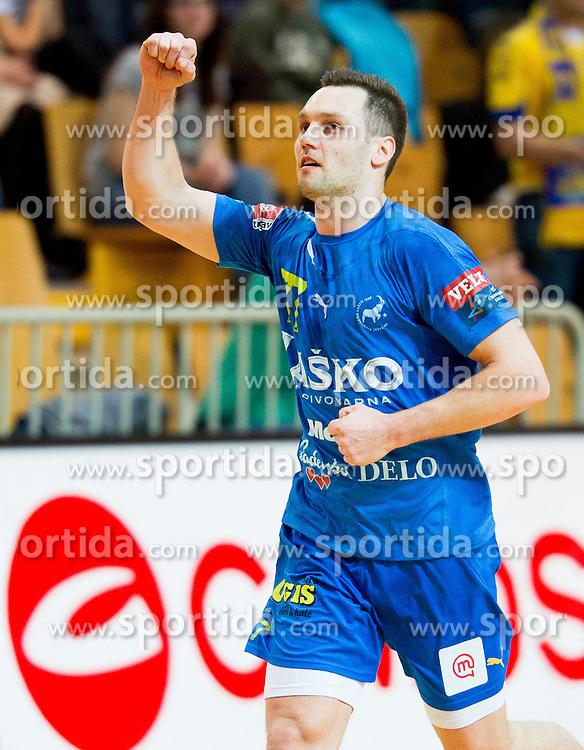 Luka Zvizej of Celje during handball match between RK Cimos Koper and RK Celje Pivovarna Lasko in 26th Round of 1st NLB Leasing league 2012/13 on April 14, 2013 in Arena Bonifika, Koper, Slovenia. (Photo By Vid Ponikvar / Sportida)