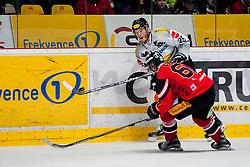 01.03.2016, Ice Rink, Znojmo, CZE, EBEL, HC Orli Znojmo vs Dornbirner Eishockey Club, Viertelfinale, 3. Spiel, im Bild v.l. Ondrej Fiala (HC Orli Znojmo), James Livingston (Dornbirner) // during the Erste Bank Icehockey League 3rd quarterfinal match between HC Orli Znojmo and Dornbirner Eishockey Club at the Ice Rink in Znojmo, Czech Republic on 2016/03/01. EXPA Pictures © 2016, PhotoCredit: EXPA/ Rostislav Pfeffer