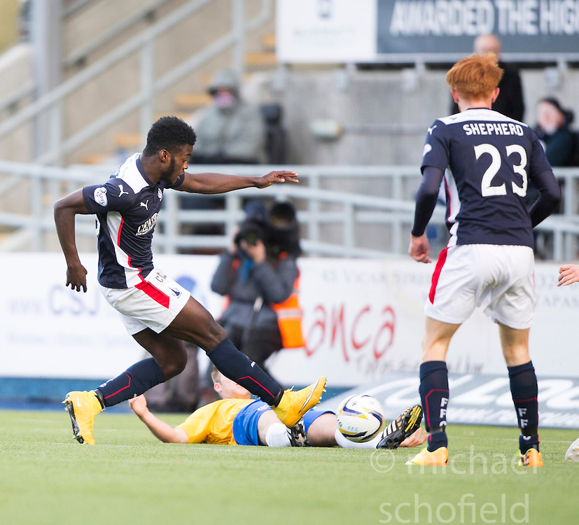 Falkirk's Botti Biabi misses a chance.<br /> Falkirk 6 v 0 Cowdenbeath, Scottish Championship game played at The Falkirk Stadium, 25/10/2014.