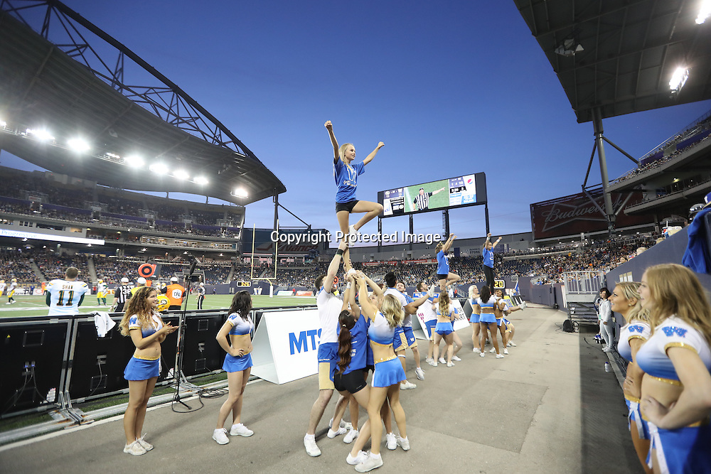 Blue Bomber Cheer and Dance team and Junior Cheer Clinic at Bombers vs Eskimos, Thursday, July 14, 2016.