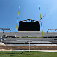 Thomas Wells | Buy at PHOTOS.DJOURNAL.COM<br /> The new video board nears completion as work continues on the North endzone expansion at Vaught-Hemmingway Stadium in Oxford.