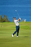 January 10 2015:  Ryan Moore hits his approach shot on number ten during the Second Round of the Hyundai Tournament of Champions at Kapalua Plantation Course on Maui, HI.