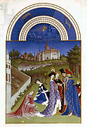 April: Planetary figure of Sun in his chariot: Zodiac figures of Aries (Ram) and Taurus (Bull) at top. Duc de Berry in blue robe, left with ladies and attendants in open air. In front of chateau boatmen net fish in dammed pond. Pollarded trees; Plantation; Walled Garden to right.  From 'Les Tres Riches Heures du Duc de Berry'  (Book of Hours). Illuminated manuscript by Limbourg Brothers pre 1416. Musee de Conde, Chantilly.