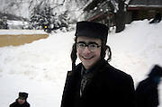 Orthodox Jewish community, Lev Tahor (Pure Heart), Sainte Agathe des Monts, Quebec, Canada. Children play in the snow