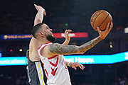April 30, 2019; Oakland, CA, USA; Houston Rockets guard Austin Rivers (25) shoots the basketball against Golden State Warriors guard Klay Thompson (11) during the second quarter in game two of the second round of the 2019 NBA Playoffs at Oracle Arena.