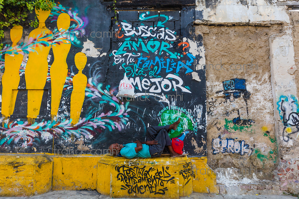 Cartagena , Colombia  - March 9, 2017 : Street Arts in the Colorful streets of Getsemani<br /> area of Cartagena de los indias Bolivar in Colombia South America