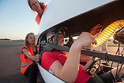 Lieske Yntema na haar tweede recordpoging. Het Human Power Team Delft en Amsterdam (HPT), dat bestaat uit studenten van de TU Delft en de VU Amsterdam, is in Senftenberg voor een poging het laagland sprintrecord te verbreken op de Dekrabaan. In september wil het HPT daarna een poging doen het wereldrecord snelfietsen te verbreken, dat nu op 133 km/h staat tijdens de World Human Powered Speed Challenge.<br /> <br /> Lieske Yntema after her second record attempt. With the special recumbent bike the Human Power Team Delft and Amsterdam, consisting of students of the TU Delft and the VU Amsterdam, is in Senftenberg (Germany) for the attempt to set a new lowland sprint record on a bicycle. They also wants to set a new world record cycling in September at the World Human Powered Speed Challenge. The current speed record is 133 km/h.