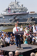 GOP presidential hopeful Senator Rand Paul speaks at a campaign rally in front of the aircraft carrier USS Yorktown on April 9, 2015 in Mt Pleasant, South Carolina.  Paul outlined a foreign policy vision built both on a strong military and a commitment to use it sparingly.